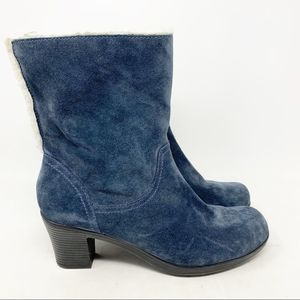 Clark's bendables suede heeled fold over boots
